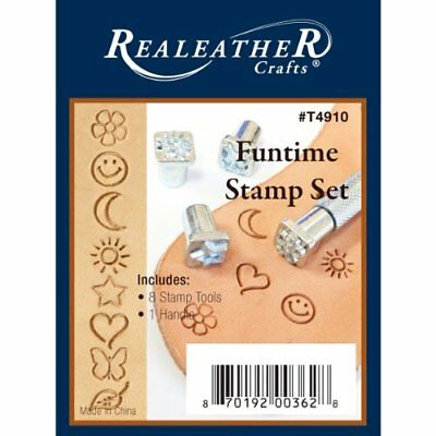 Realeather Crafts Leathercraft Fun Time Stamp Set T4910 8 Stamps