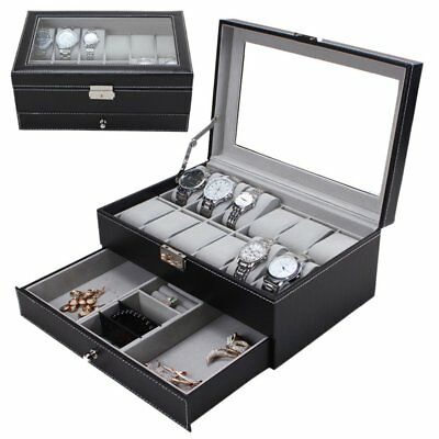 12 Grids Watch Display Case Leather Jewelry Storage Box Organizer Lock Key OKW