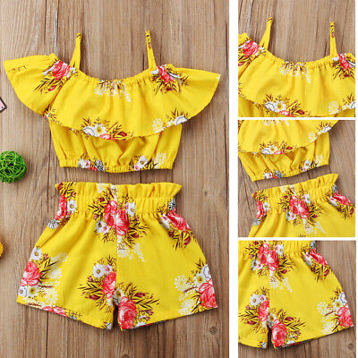 Toddler 1-6Y Summer Kid Baby Girls Floral Clothes Tops Shorts Pants Outfits AU