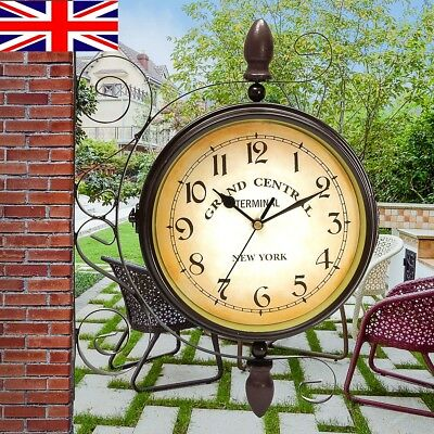 Outdoor Vintage Rotating Double Side Clock Garden Station Wall Mounted Bracket