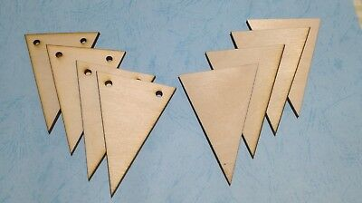 Pack of 10 x WOODEN BUNTING FLAGS VARIOUS SIZES