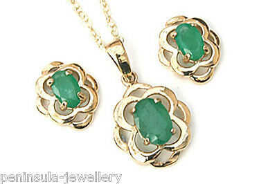 9ct Gold Celtic Emerald Pendant necklace and Earring Set Gift Boxed Made in UK