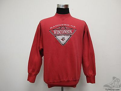 Wisconsin Badgers Crewneck Sweatshirt Grey Red Champion Men Small