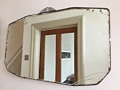 Art Deco Vintage Frameless Mirror Bevelled Edge 1930s 1940s Stepped Fan Top 56cm