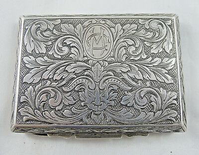 antique silver green man italy wallet box case tobacco victorian billy goat