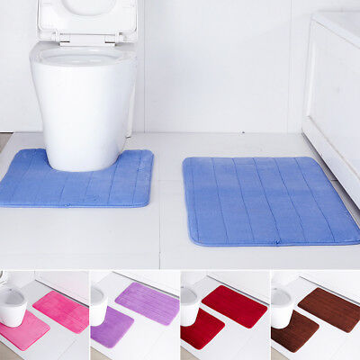 2pcs Bath Floor Mat Set Toilet Pedestal Rug Bathroom Anti Non Slip Shower Carpet