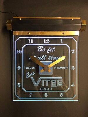 Handmade light up art deco style wall clock glass copper and brass