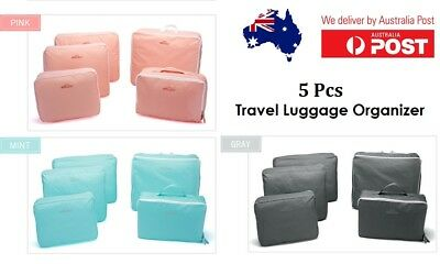 5Pcs Packing Cubes Travel Luggage Organiser Clothes Suitcase Storage Bag Pouches