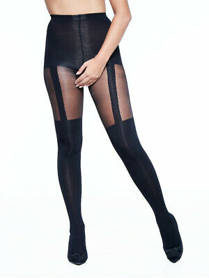 Miss Naughty Mock Suspender Crotchless Tights, Open Gusset Fashion, Plus Sizes