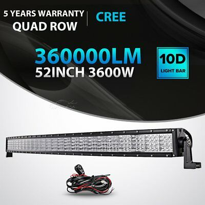 52inch 4D LED Work Light Bar Curved QUAD ROW Truck SUV 4X4 Jeep Offroad ATV