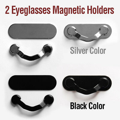 2 Sets Strong Magnetic Stainless Steel Eye Glasses Holders Clips Black & Silver