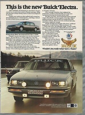 1984 BUICK ELECTRA advertisement, Buick ad, Electra T Type, German Autobahn
