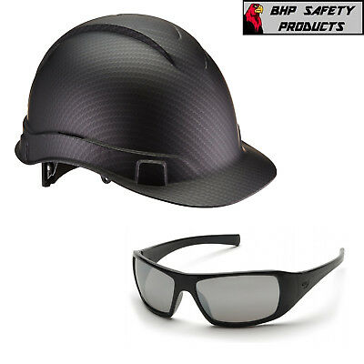 Pyramex Graphite Cap Style Hard Hat Hp44117 W/ Goliath Safety Glasses Sb5670D