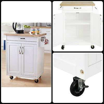 White Kitchen Island Cart Storage Wood Trolley Microwave Stand Rolling  Cabinet
