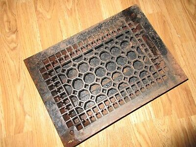 Vintage Ornate Art Deco Cast Iron Floor Register Heat Grate With Louvers