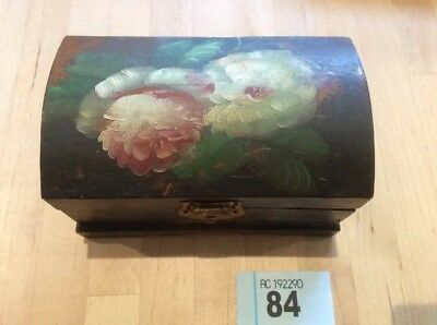 Rose painted wooden box, Antique trinket, work box ~ Lacquered