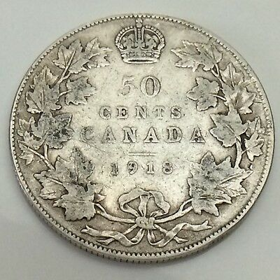 1918 Canada 50 Fifty Cents Half Dollar Canadian Circulated Coin F407