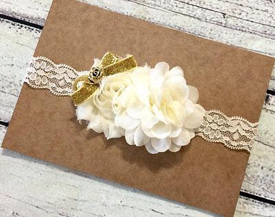 Ivory and Gold Vintage Baby/Toddler /Girl Lace Headband