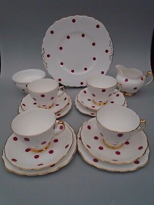 60's ROYAL VALE RED RASPBERRY  POLKA DOT 15 piece tea set service