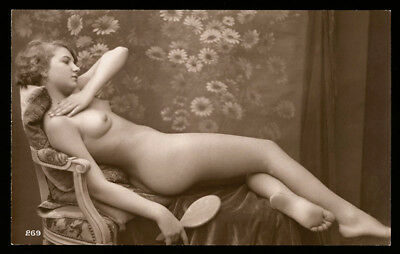 Nude French RPPC Real Photo Postcard Risqué Reclining Jazz-Age Flapper w/ Mirror