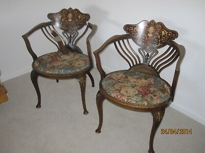 Pair of Edwardian tub chairs Sheraton style in need of restoration