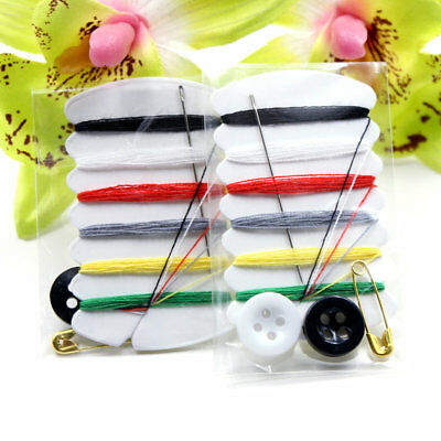 3 pcs Mini sewing kit Needle & Thread emergency handy Buttons Travel Home Car