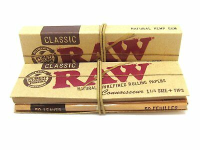 1x Packs RAW Classic 1.25 Connoisseur ( 50 Leaves / Papers Each Pack ) With Tips