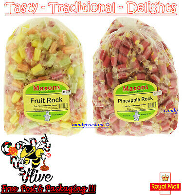 Maxons Pineapple Rock and Fruit Rock Roller Boiled Sweets Individually Wrapped