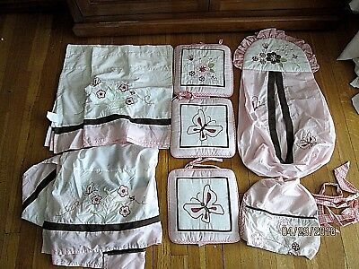 8 Piece Geenny Baby Pink Dragonfly Butterfly Flowers Crib Set