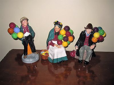 Set 3 Royal Doulton*the Old Balloon Seller-Balloon Man & Boy-Full Size