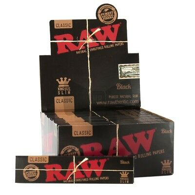 10x Packs Raw Classic Black King Size Slim ( 32 Leaves / Papers Each Pack ) Pure