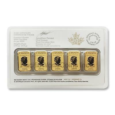 Canada 2016 Legal Tender $25 5pc 1/10 oz Gold Bar Royal Canadian Mint  SKU#5806