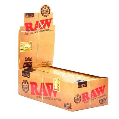 25x Pack RAW Classic Single Wide (100 Leaves Papers Per Pack) Rolling FULL BOX