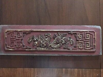Antique Chinese Hand Carved Wood Panel Sculpture Wall Art Architectural Plaque
