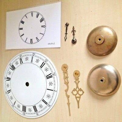 Vintage Clock Parts Spares, Bells, Hands, Faces - nice little restorers lot.