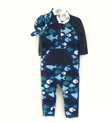 Marks & Spencer Kids Boys 3 Piece Sun Protection UPF 40+ Swimsuit 9-12 Years New
