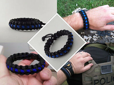 Police Thin Blue Line Paracord Survival Bracelet Various Sizes
