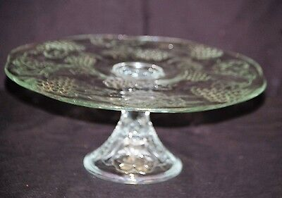 Vtg. Clear Glass Pedestal Cake Plate Stand w Embossed Fruit Designs Kitchen Tool & VTG GLASS Pedestal Cake Plate 10