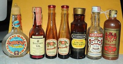 Lot 11 Vintage Glass Empty Liquor Bottles - Tax Stamps Benedictine Crown Royal+
