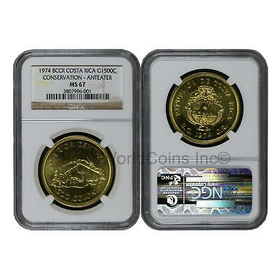 BCCR Costa Rica 1974 Conservation - Anteater 1500 Colones Gold NGC MS67 SKU#6365
