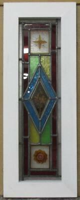 "MID SIZED OLD ENGLISH LEADED STAINED GLASS WINDOW HP Floral Panel 8.5"" x 22.75"""