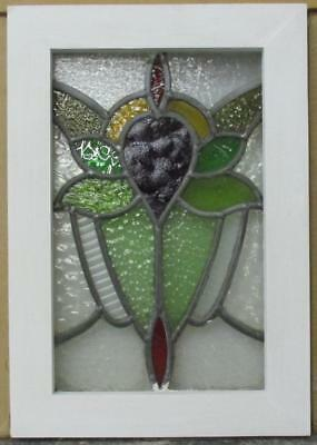 "OLD ENGLISH LEADED STAINED GLASS WINDOW Colorful Floral 12"" x 17.5"""
