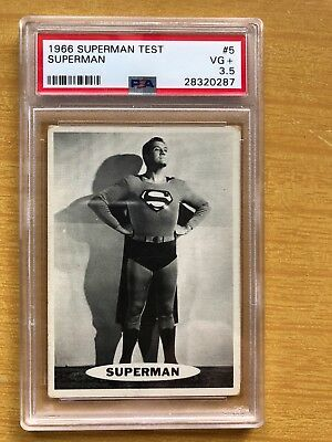Topps 1966 SUPERMAN #5 TEST CARD- White Back Proof-ONLY1 known to exist-PSA- VG+