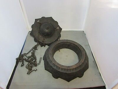 Antique VTG Cast Iron Hanging Oil Lamp Motor & Weight Chas Parker Kerosene 1800s