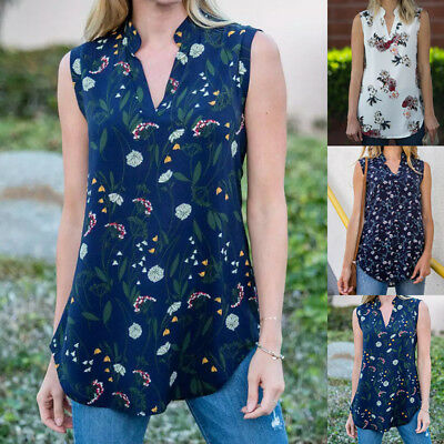 Fashion Women Summer Floral Vest Top Sleeveless Blouse Casual Tank Tops T-Shirt