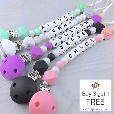 Personalised dummy clip pacifier chain dummie binky baby soother clips holder