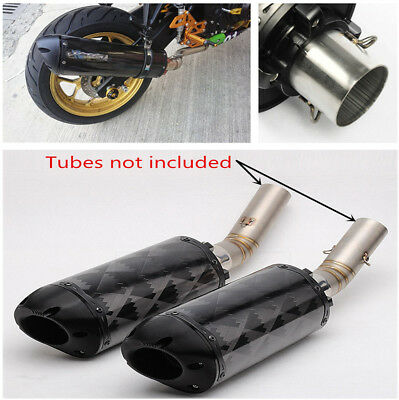Real Carbon Fiber Exhaust Tail Pipe No Muffler for Motorcycle Dirt Bike 38-51mm