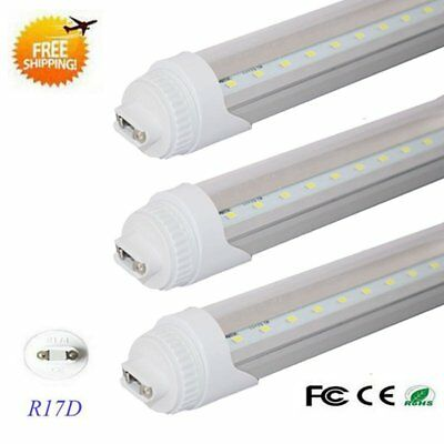 8FT 40w R17D HO Double-End Power T8 T12 LED Tube Light 6500K CLEAR LENS 10-pack