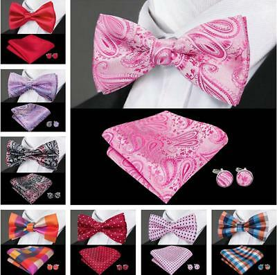 Mens Bowties Red Blue Black Pink Silk Pretied Set Solid Paisley Bow tie Wedding
