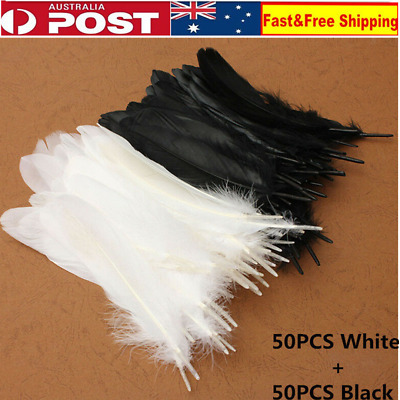 Bulk 100pc 15-20cm White+black Goose Feathers DIY Crafts Beautiful Wedding Party